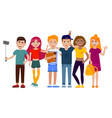 group of cute happy teenagers having fun standing vector image vector image