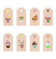 hand drawn cupcakes labels vector image vector image
