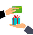hands with credit card and gift vector image vector image