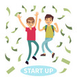 happy successful students in money rain start up vector image vector image