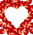 Heart frame from red rose petals vector image vector image