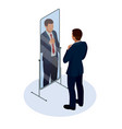 isometric businessman adjusting tie in front of vector image vector image