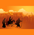 jesus comes to jerusalem as king vector image vector image