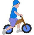 kid riding push bike vector image
