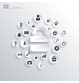 Lock icon Flat abstract background with web icons vector image vector image