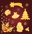 Merry Christmas set of gold decoration vintage tr vector image vector image