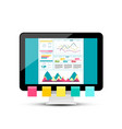 modern web design with graphs on dashboard pc vector image vector image