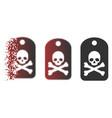moving pixel halftone death sticker icon vector image