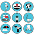 Nautical elements type 3 icons in knottet circle vector image vector image