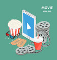 online movie flat isometric low poly concept vector image vector image