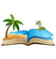 open book with tropical beach on a white backgroun vector image