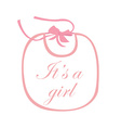 Pink baby bib with text vector image vector image