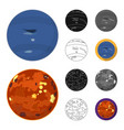 planets of the solar system cartoonblackflat vector image