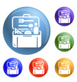 plastic lunchbox icons set vector image