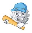 playing baseball roda gear simple image on cartoon vector image vector image