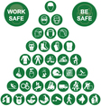 Pyramid Health and Safety Green Icon collection vector image vector image