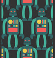 robot seamless pattern retro toy background vector image vector image