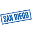 San Diego blue square grunge stamp on white