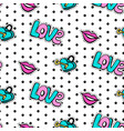 seamless pattern with fashionable patch set vector image vector image