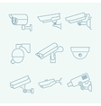 Security cameras icons set vector image vector image