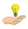 simple graphic of a hand with light bulb vector image vector image