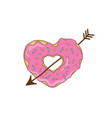 sweet heart from a donut with an arrow vector image