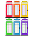 Telephone booths in six colors vector image vector image