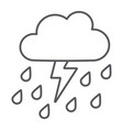 thunderstorm with rain thin line icon weather and vector image vector image