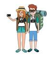 tourist couple cartoon vector image vector image