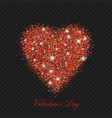 valentine day red glitter shiny heart vector image vector image