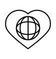 world into heart love human rights day line icon vector image vector image
