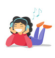 young woman in headphones listening to music vector image vector image