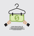 Bank Note Dry On Clothes Hanger Finance And vector image vector image