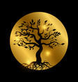 black tree with roots silhouette with shiny vector image