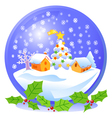 blue christmas snowball vector image vector image