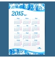 Blue gzhel ornament Russian calendar template vector image