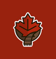 canadian maple leaf wrapped scarf logo icon vector image