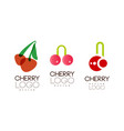 cherry logo design set abstract creative badges vector image