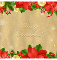 Christmas Card With Poinsettia vector image