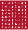 christmas tree icon set flat isolated design new vector image