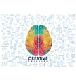 conceptual polygonal brain abstract vector image