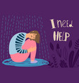 depressed girl frustrated woman vector image vector image