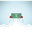 Dollar Bank rocket flying with wings EPS10 vector image vector image