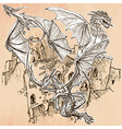 Dragons - An hand drawn Line art vector image vector image
