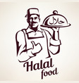 eastern chef with plate halal food vector image vector image