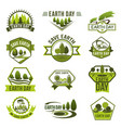 eco green badge set for earth day design vector image vector image