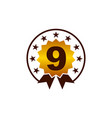 emblem best quality number 9 vector image