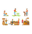 farmers working at farm or garden set men and vector image vector image