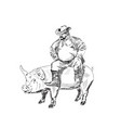 fat farmer with pig vector image vector image