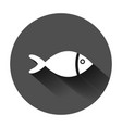 fish sign icon in flat style goldfish on black vector image vector image